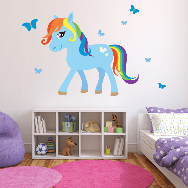 Rainbow & Blue Pony Fabric Wall Decal