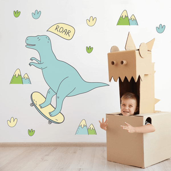 Skateboarding Dino Fabric Wall Decals