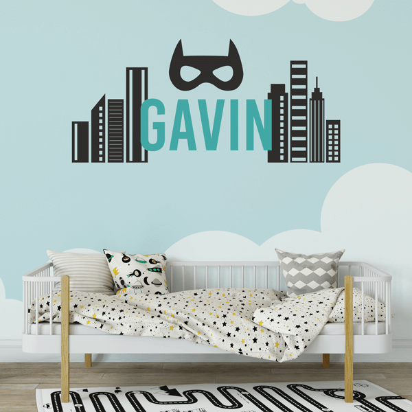 Superhero Cityscape Name Decal