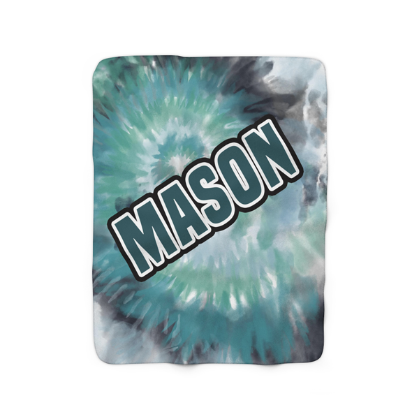 Green Tie-Dye Fleece Blanket