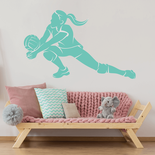 Minty Green Vinyl Volleyball Dig Wall Decal