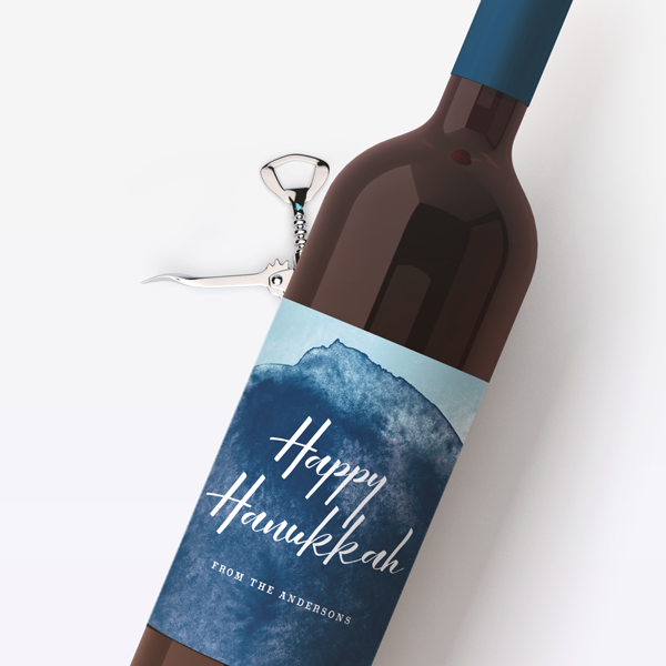 Watercolor Hanukkah Wine Labels