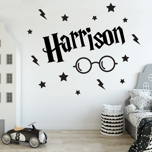 Wizard Style Name Decal With Glasses, Stars, and Lightning