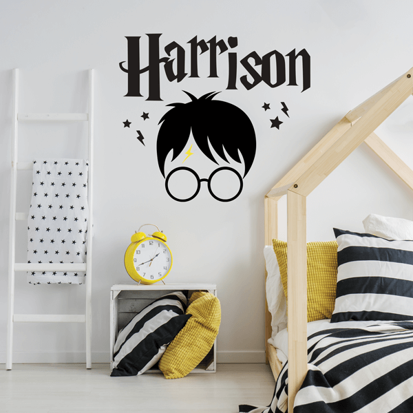 Glasses Wearing Wizard with Name Wall Decal
