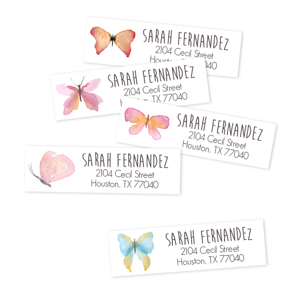 butterfly return address labels labeldaddy