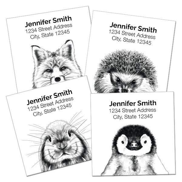 Black and White Animal Return Address Labels