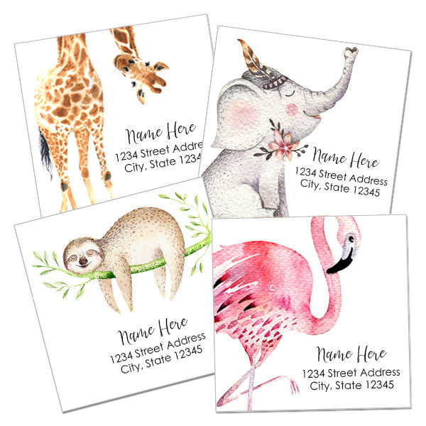 Watercolor Animal Return Address Labels