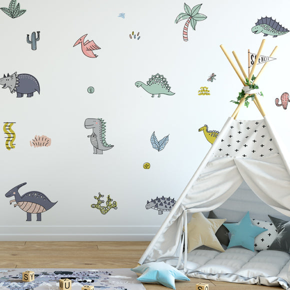 Dinosaur Pattern Wall Decals