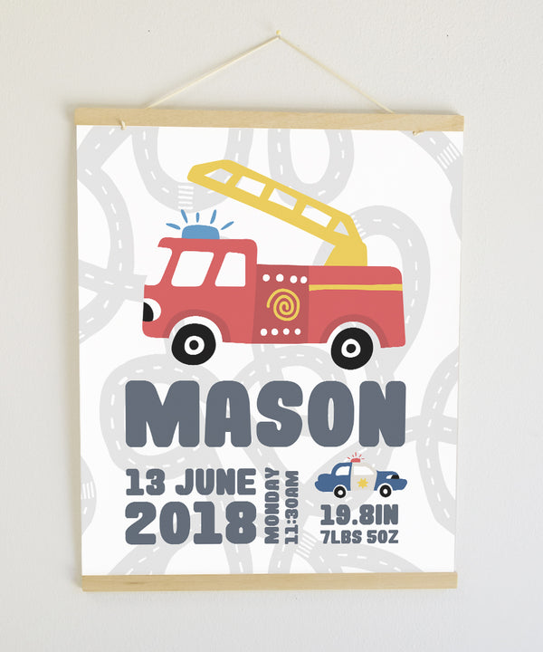 Fire Engine Birth Banner