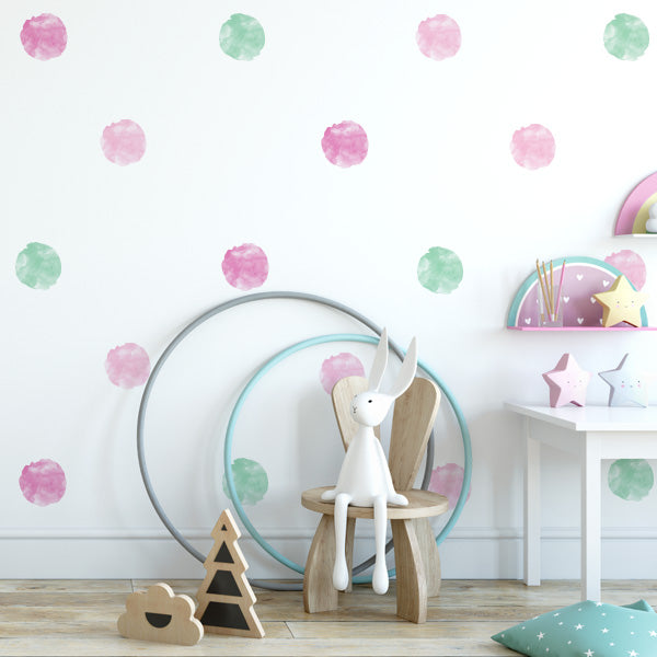 Watercolor Polka Dot Wall Decals
