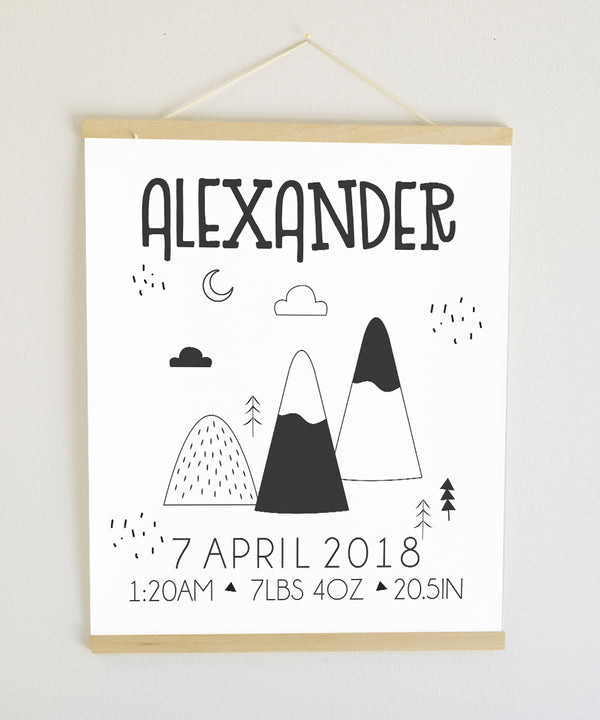 Black and White Mountains Birth Banner