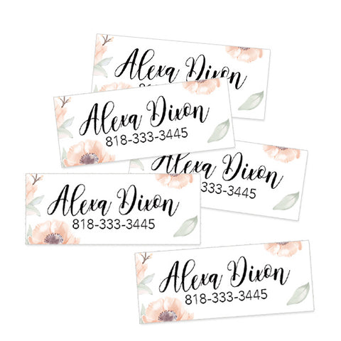 Floral Rectangle Contact Labels