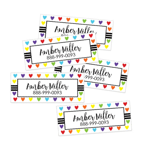 Hearts Rectangle Contact Labels