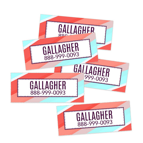 Stripes Rectangle Contact Labels