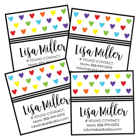 Hearts Square Contact Labels