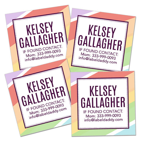 Stripes Square Contact Labels