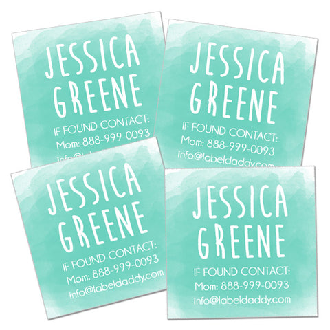 Watercolor Square Contact Labels