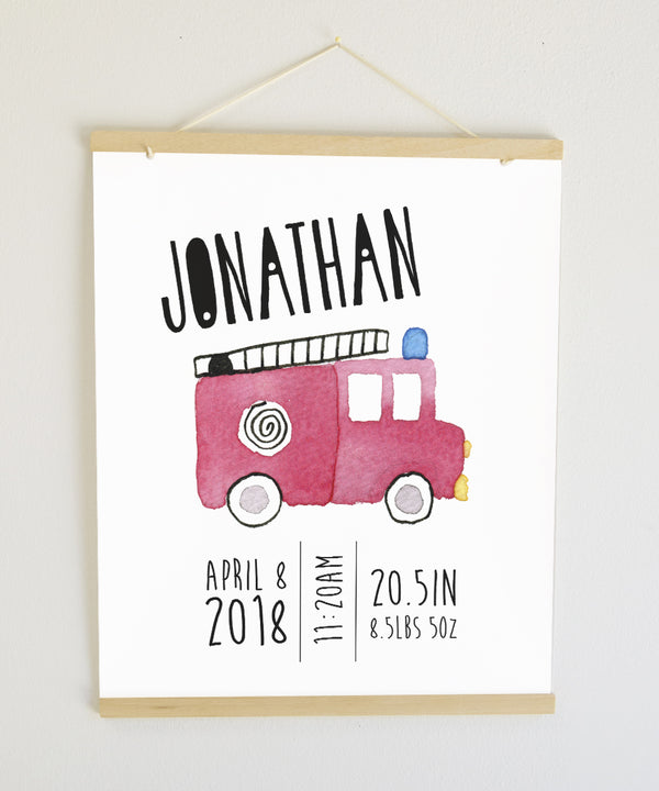 Watercolor Fire Engine Birth Banner