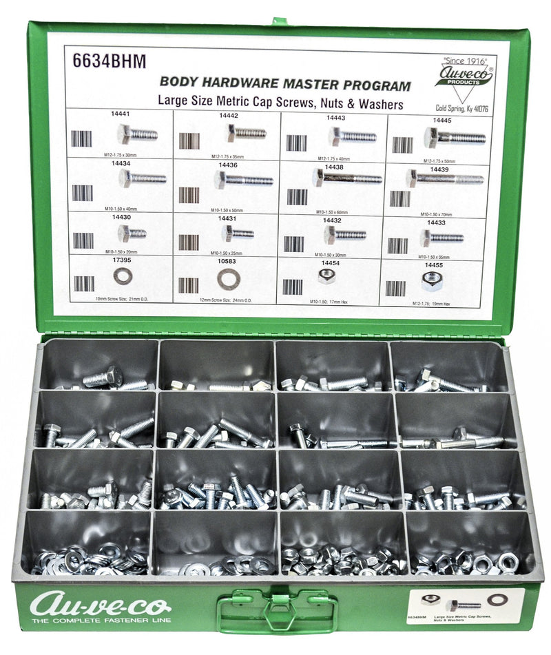 Large Size Metric Cap Screws, Nuts And Flat Washers. Auveco 6634BHM. Qty.  1 Assortment
