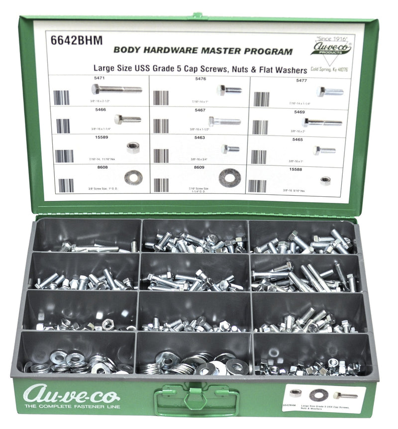 Large Size USS Grade 5 Cap Screws, Nuts, And Flat Washers. Auveco 6642BHM. Qty.  1 Assortment