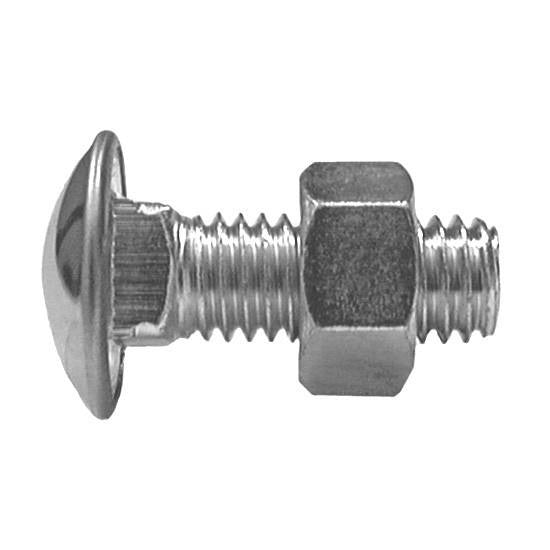 "Auveco # 3099  7/16""-14 X 1-1/4"" Stainless Steel Capped Round Hd. Bumper Bolts With Hex Nuts."