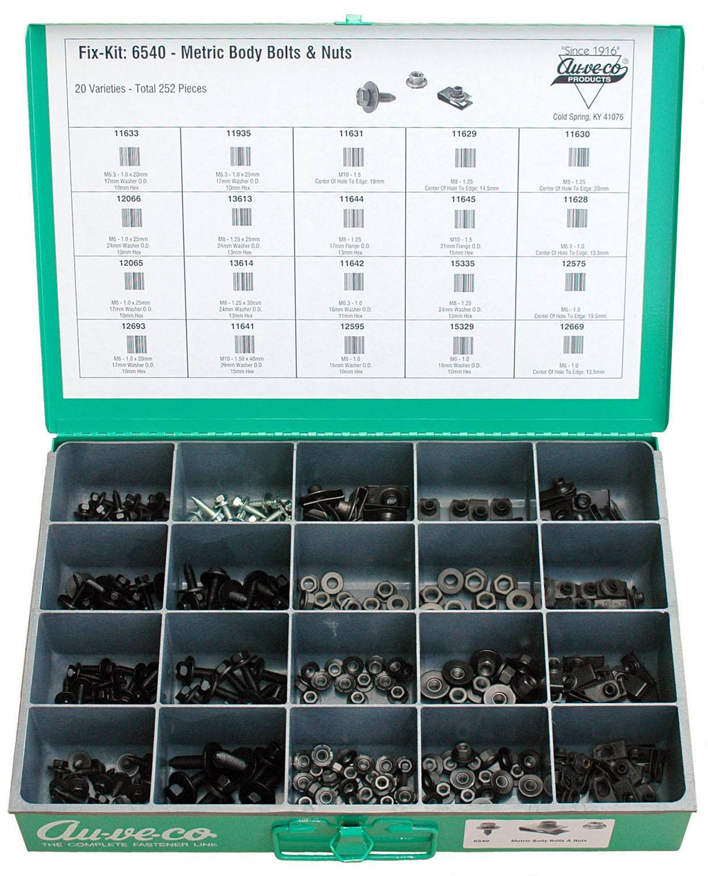 Auveco # 6540  Metric Body Bolt And Nut Kit.