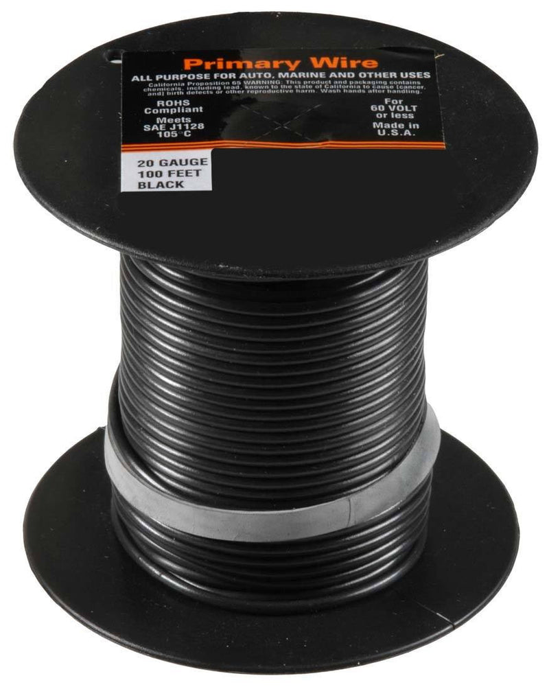 20 Gauge Primary Wire, Black. Auveco 21341. Qty. 1