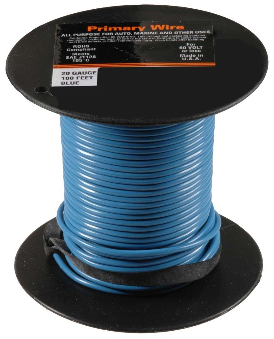Auveco # 21342  20 Gauge Primary Wire, Blue.