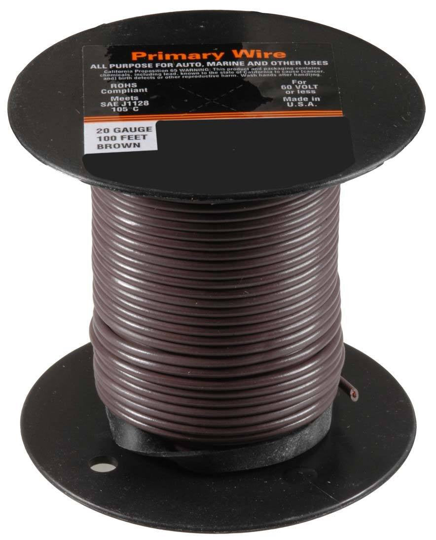 Auveco # 21345  20 Gauge Primary Wire, Brown.