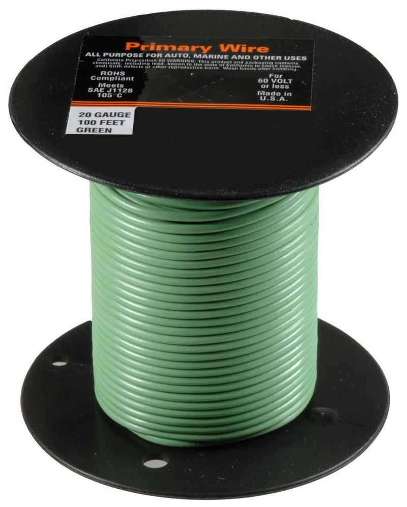 Auveco # 21343  20 Gauge Primary Wire, Green.