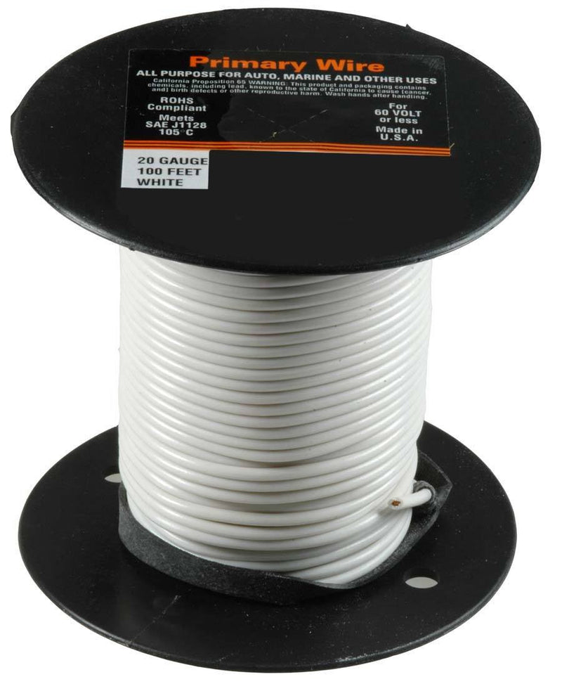 20 Gauge Primary Wire, White. Auveco 21340. Qty. 1