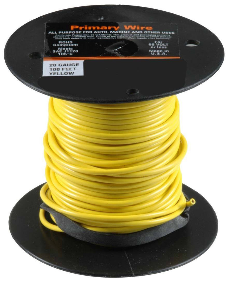 20 Gauge Primary Wire, Yellow. Auveco 21344. Qty. 1