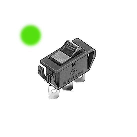 Auveco # 13529  Illuminated Rocker Switch -Green.