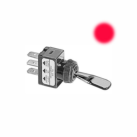 Auveco # 13523  Illuminated Toggle Switch-Red.