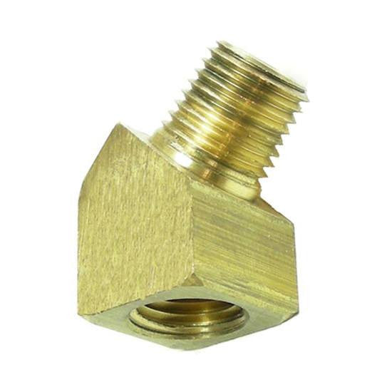 "Auveco # 349  45 Degree Brass Street Elbow 3/8"" Pipe Threads."