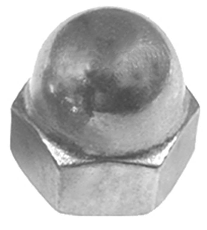 "Auveco # 11184  3/8""-16 X 5/8"" Steel Acorn Cap Nut - Nickel."