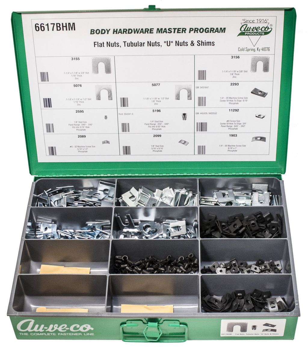 "BHM Assortment Flat Nuts, ""U"" Nuts, Tubular Nuts And Shims. Auveco 6617BHM. Qty.  1 Assortment"