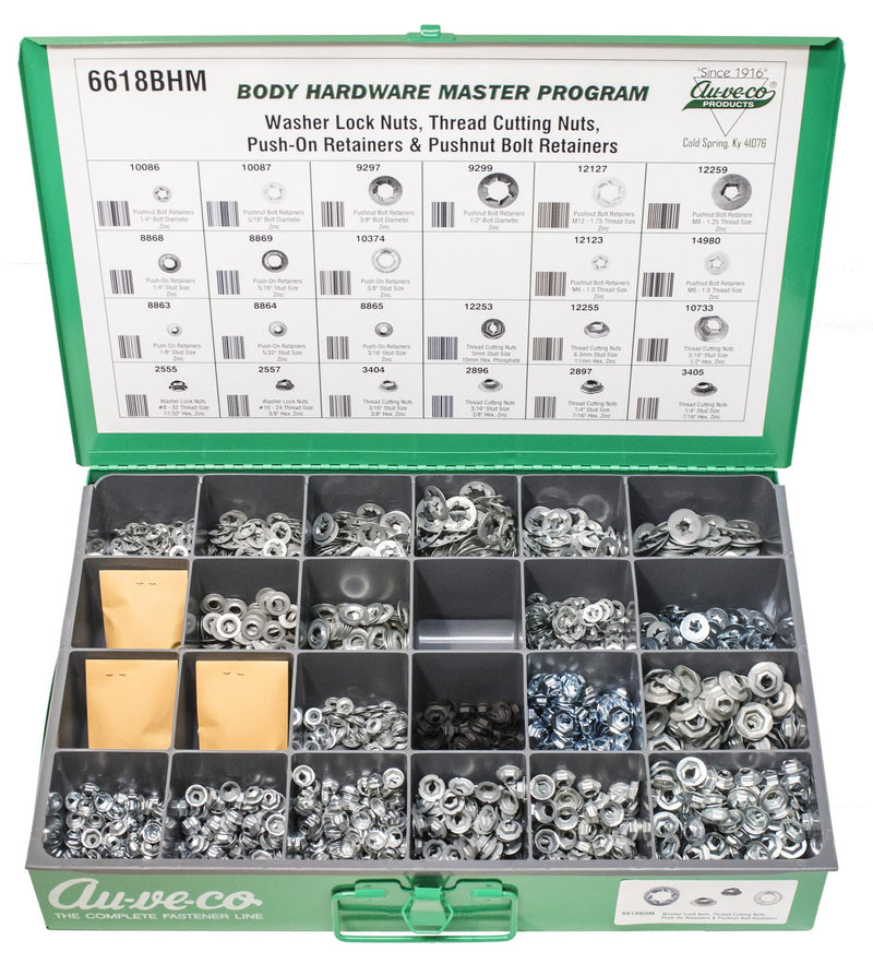 Auveco # 6618BHM  BHM Assortment Thread Cutting Nuts And Push-On And Pushnut Bolt Retainers.