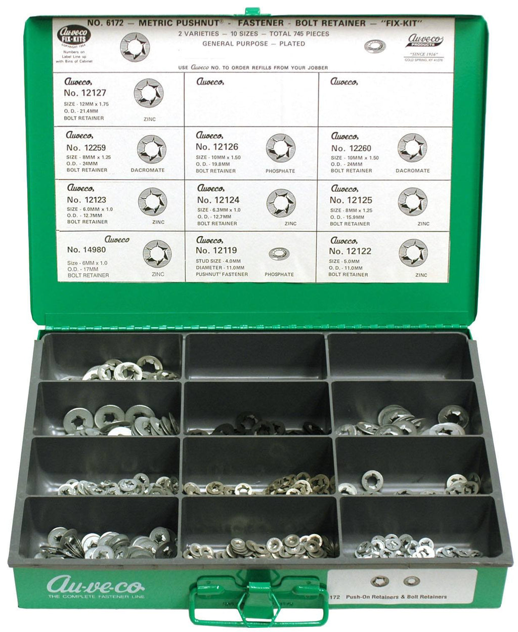 Metric Pushnut. Auveco 6172. Qty.  1 Assortment