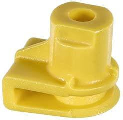 Auveco # 21966  U Nut; Screw Size: M4,2 (Number 8), Panel Range: Up To 2.5mm, Hole Center To Edge: 7mm, Overall Height: 12.5mm, Yellow Nylon.