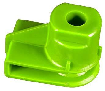 Auveco # 21933  U Nut; Screw Size: M4,8 (Number 10), Panel Range: Up To 3mm, Hole Center To Edge: 11mm, Overall Height: 16mm, Green Nylon.