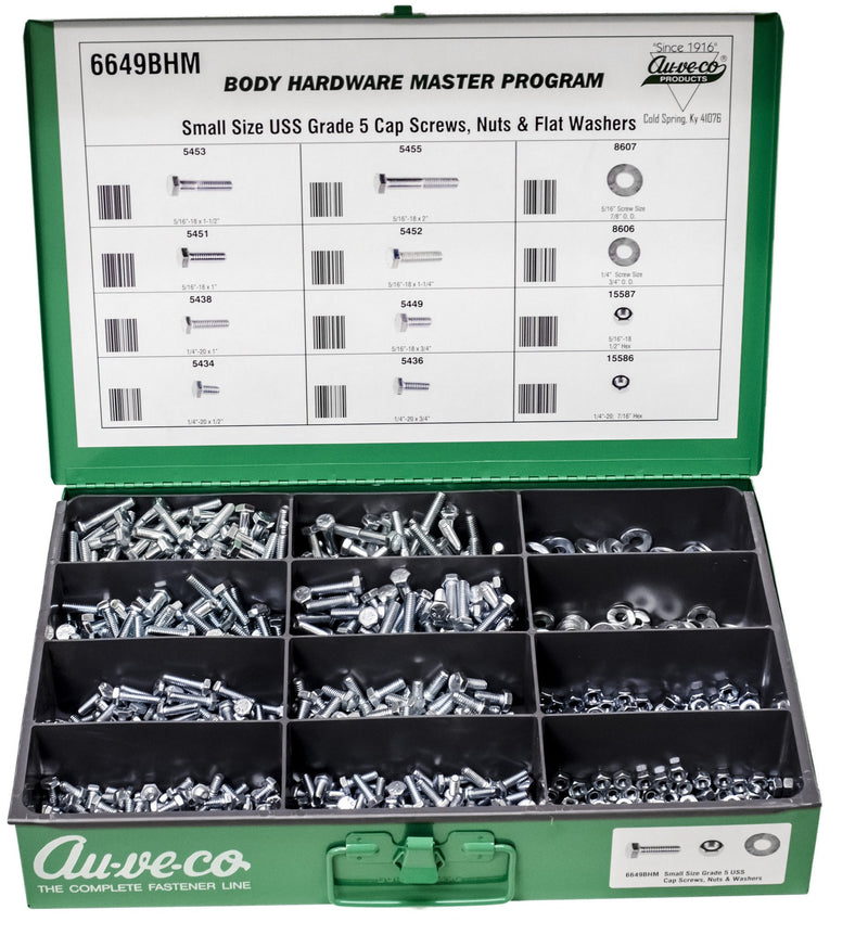 Grade 5 Small Size Cap Screws, Nuts And Washers. Auveco 6649BHM. Qty.  1 Assortment