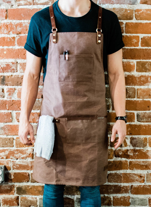 Utility Barista Apron - Waxed Canvas with Genuine Leather Straps