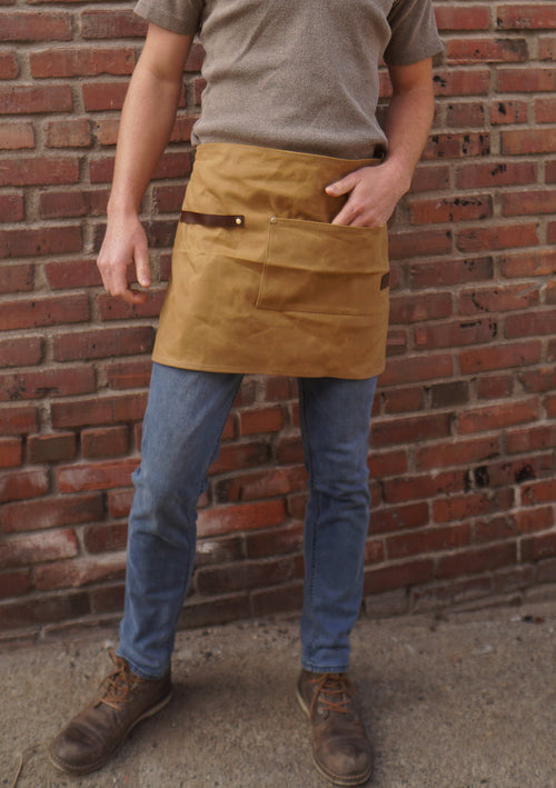 Utility Barista Waist / Half Apron - 14oz Waxed Canvas (Tan)