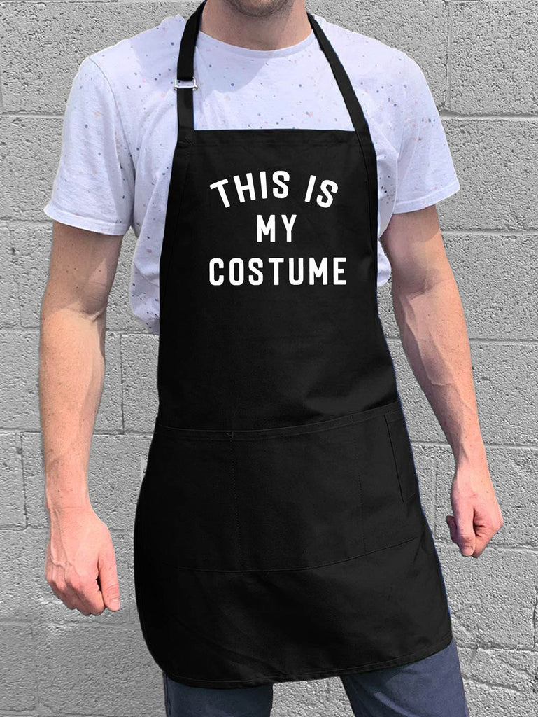 ApronMen - This is My Costume Apron - Halloween Joke Holiday Apron - 1 Size Fits All with Adjustable Neck and Long Waist Straps - 100% Cotton Apron with 4 Utility Pockets