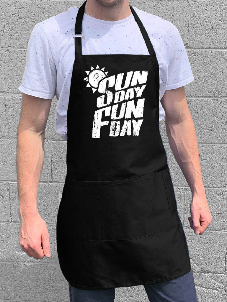Sunday Fun Day Apron - Black