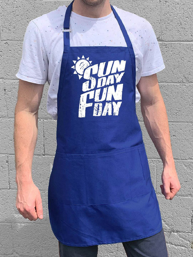 Sunday Fun Day Apron - Blue