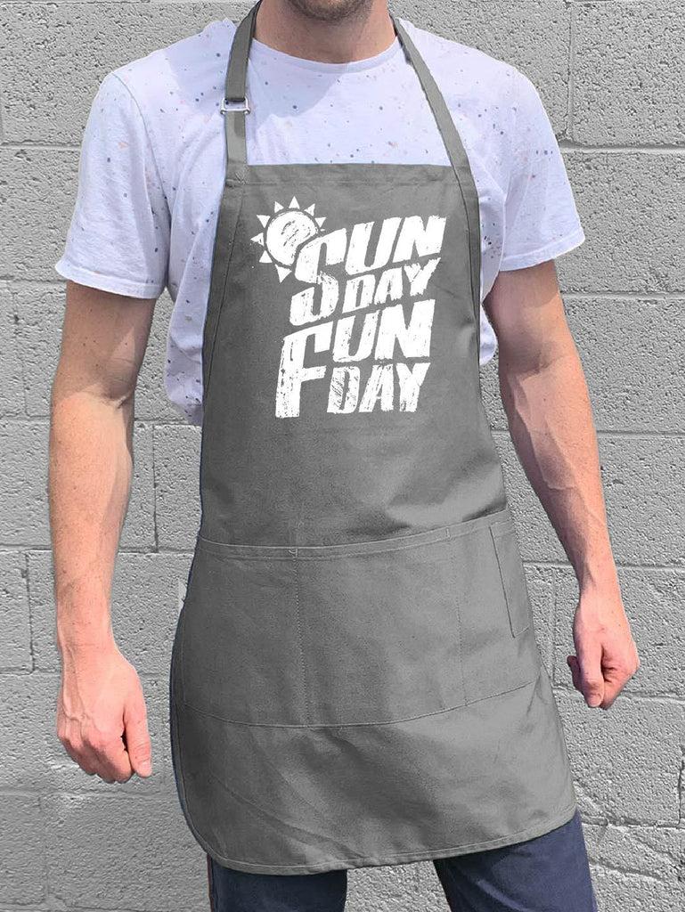 Sunday Fun Day Apron - Gray
