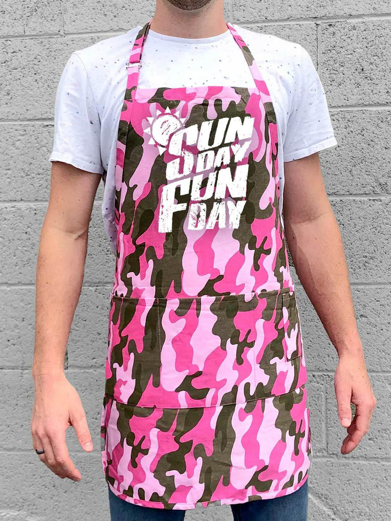 Sunday Fun Day Apron - Pink Camo