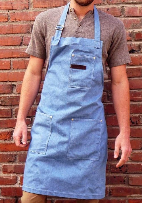 Soft Blue Denim Work Apron / Comfort Fit Neck & Long Waist Ties